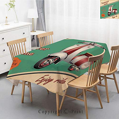 Pure Linen Plain Tablecloth Athena,Natural Rectangular Table Cloth for Indoor and Outdoor Use,Natural Tablecloth,55x87 Inch,Vintage Decor,Scooter Motorbike Summer Travel Italian City Sight Hipster Enj