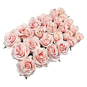 DALAMODA Artificial Silk Flowers Rose Heads DIY for Wedding Bridesmaid Bridal Bouquets Bridegroom Groom Men's Boutonniere and Corsage,Shower Party Home Decorations 24pcs (Blush) 26