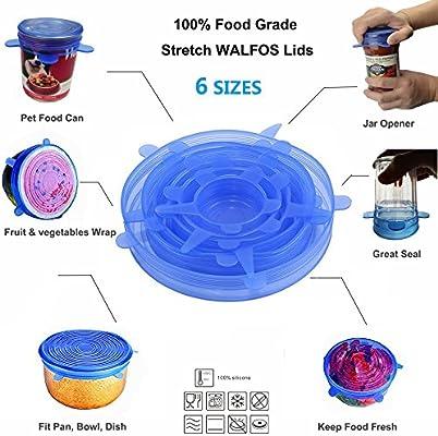 Set di 6 Linnovativo coperchio universale in silicone per contenitori di alimenti
