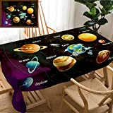 Unique Custom Design Cotton and Linen Blend Tablecloth Outer Space Decor Solar System of Planets Milk Way Neptune Venus Mercury Sphere Horizontal MulticoloTablecovers for Rectangle Tables, 70'' x 52''