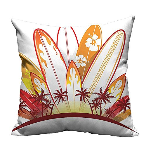 (YouXianHome Pillowcase with Zipper Island Surfboards on Background Splash Holidays Paddle Sunset Australia Joyful Image Ultra Soft & Hypoallergenic (Double-Sided Printing) 35x35 inch)