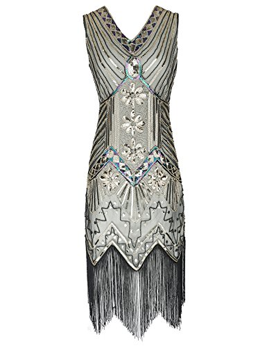 Women's 1920s Dress V Neck Beaded Sequin Fringed Gatsby Flapper Dress (Beige Gold, M) -