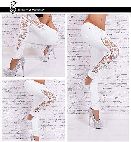 Florales Ahuecados DAMENGXIANG Jeans Blanco Lavables Pitillo TqZx7EIZwS