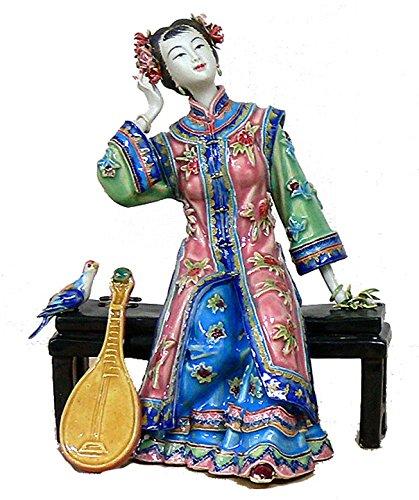 - Handmade Procelain Ceramic Figurine Oriental Musician Lady Pipa