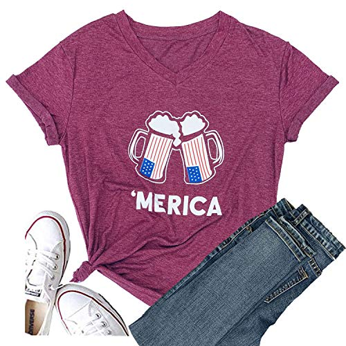 Hellopopgo Women Faith Family Freedom USA American Flag Lips Shirt Short Sleeve Graphic Tees Funny T Shirts Summer Tops (XX-Large, ()