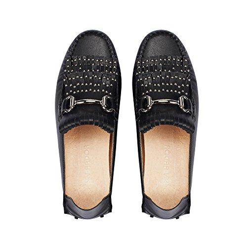 jenn ardor Women's Convertible Slip On Loafers/Slides Tassel Driving Moccasin Leather Smoking Flat Shoes (6.5 B(M) US 9.25in, Black)