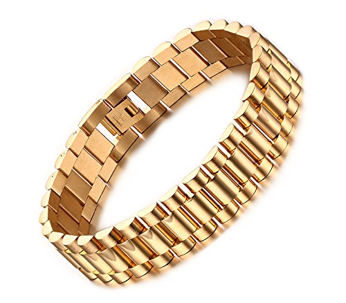 PJ Jewelry Personalized Men's Stainless Steel Chain Classic Watch Band Wristband Bracelets for Men Dad (Watch Chain Bracelet)