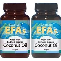 Certified Organic Coconut Oil 1,000mg - Swanson EFA's - 60 Softgels (Two Bottles Each of 60 Softgels)