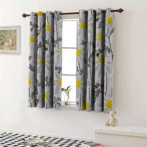 Grey Thermal Insulating Blackout Curtain Daisy Flowers with Bees in Spring Time Honey Petals Floret Nature Purity Blooming Curtains Girls Room W55 x L39 Inch Yellow White ()