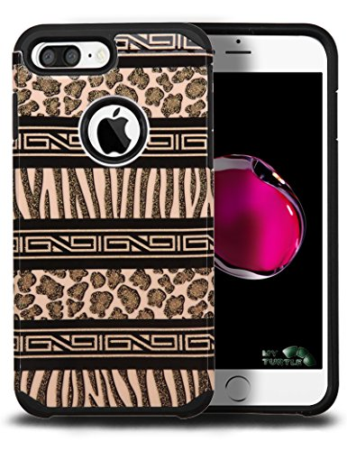 iPhone 7 Plus Case with FREE 9H Premium Tempered Glass Protector Full Body Protection 2-in-1 Package by MyTurtle Shockproof Modern Slim Hard Protective Bumper Shell Cover (Tribal Zebra Leopard Brown)