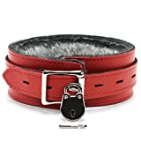 VP Leather Bonn Lockable Collar Handmade Leather Choker (Red)