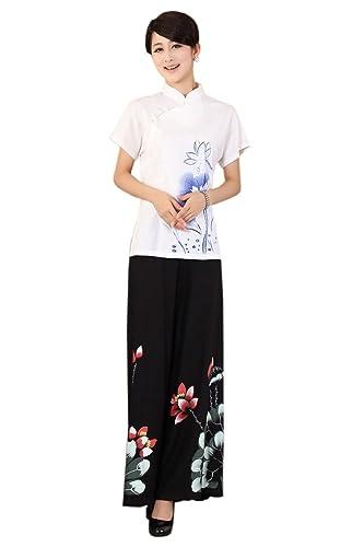 XueXian(TM) Mujer de Tang de Elegante Oriental de Manga Corta con Bonito Flore