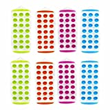 Set of 8 - 11'' Easy push Pop Out round mini Ice Cube Trays with flexible silicone bottom