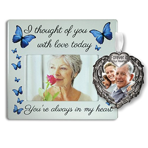 In Loving Memory Gift Set - Ceramic Frame and Memorial Christmas Ornament with the Loving Saying