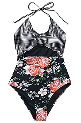 CUPSHE Women's Secret Fragrance Print Halter One-Piece Swimsuit Beach Swimwear