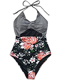 Fashion Women's Cloud Stroll Floral Printing Halter One-Piece Swimsuit Beach Swimwear Bathing Suit