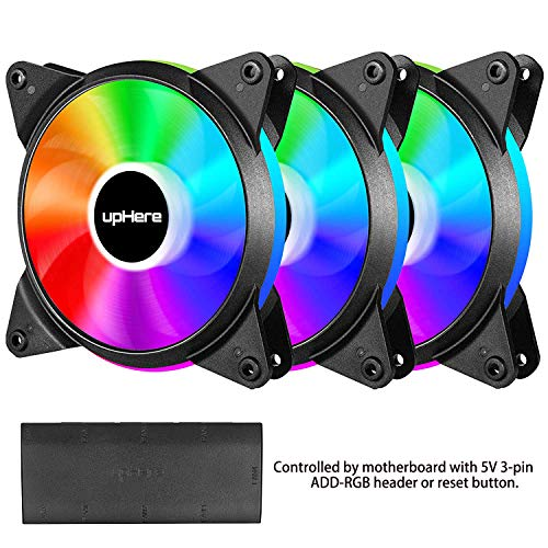 upHere 5V 3-Pack 120mm Silent PWM Intelligent Control 5V Addressable RGB Fan Motherboard Sync, Adjustable Colorful Fans with Controller T7SYC7-3 (5v Fan Led)