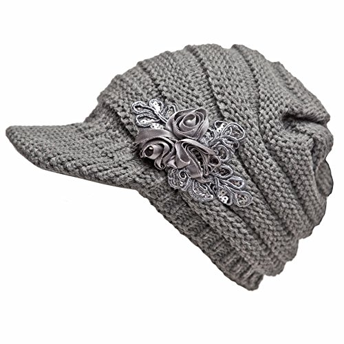 NYKKOLA Women Cable Knit Winter Warm Beanie Hats Newsboy Cap Visor with Sequined Flower - Grey ()