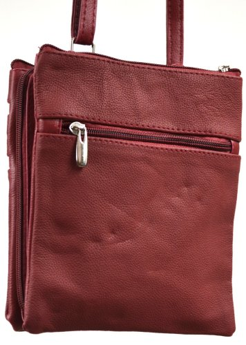 Red Bag Red Tan Leather Body Zipped Burgundy Shoulder Navy Beige Dark Bag Separate Fawn Cross Compartments Brown with Ladies Black Three q4HXwR4