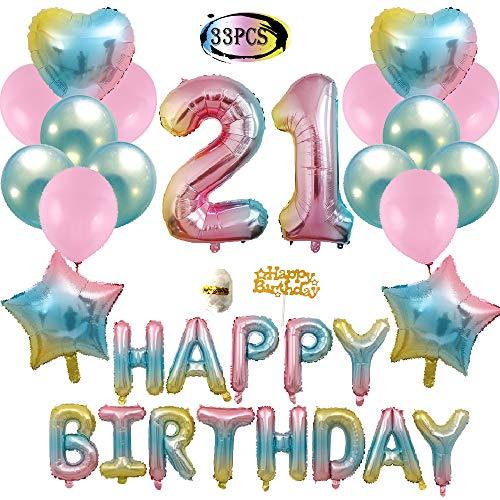 Birthday 21st Heart (21st Birthday Decorations, Gradient Happy Birthday Foil Balloons, Rainbow Star & Heart Balloons, Pink and Blue Latex Balloons, Birthday Party Balloons)
