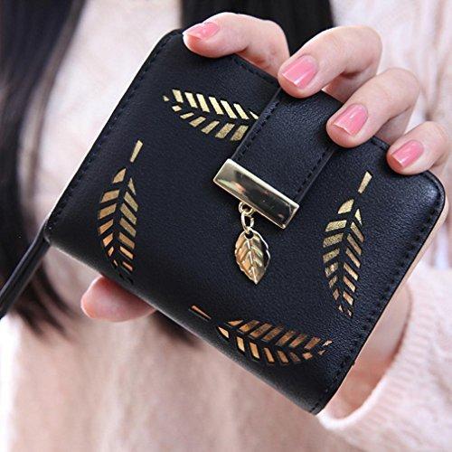 a-goo ® donne foglia Bifold portafoglio borsa small Lady breve borsetta pochette in pelle ID finestra moneta carta (nero)