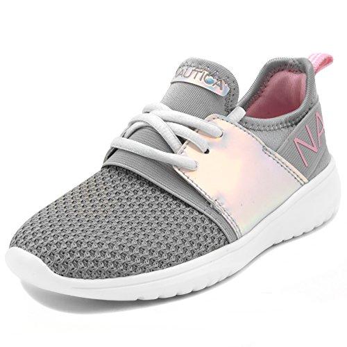 (Nautica Kids Girls Fashion Sneaker Running Shoes-Kappil Girls-Silver-5)