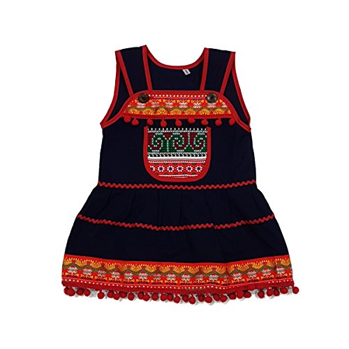 Beautiful Woven Cotton Ethnic Thai Girl Dress with Hand Embroidered Details 3 to 4 Year ()