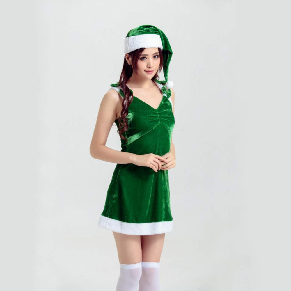 El ultimo 2018 CVCCV Traje de Navidad verde Traje de de de Navidad de Las Mujeres Adultas Traje de CosJugar de Navidad CosJugar Traje de Navidad Rendimiento Tela de algodón  echa un vistazo a los más baratos