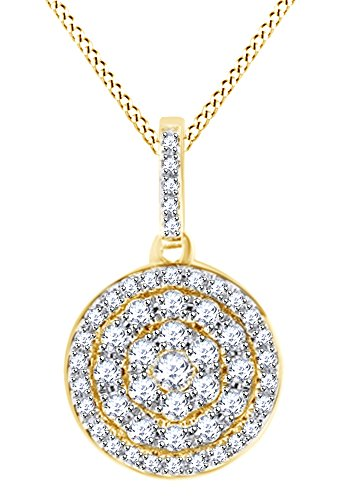 Round Cut White Natural Diamond Small Pave Disc Pendant In 14k Yellow Gold (0.29 cttw)