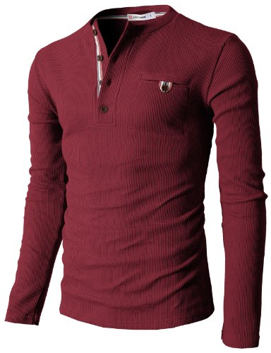 H2H Mens Casual Slim Fit Henley Shirts with Bound Pocket of Waffle Cotton Wine US S/Asia M (KMTTL062)