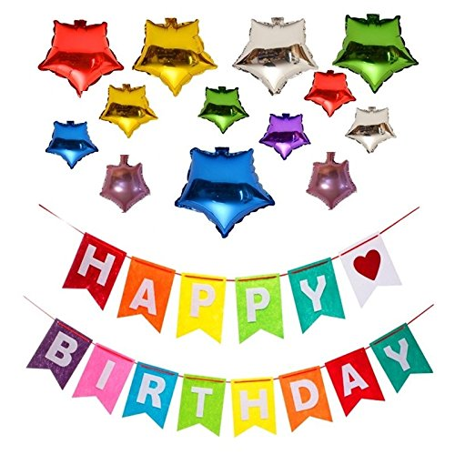 Happy Birthday Kids Party Rainbow Supplies Felt Cloth Decorations Banner with 12 Star-Shape Random Color Foil Membrane Balloons (Random Ideas Party)