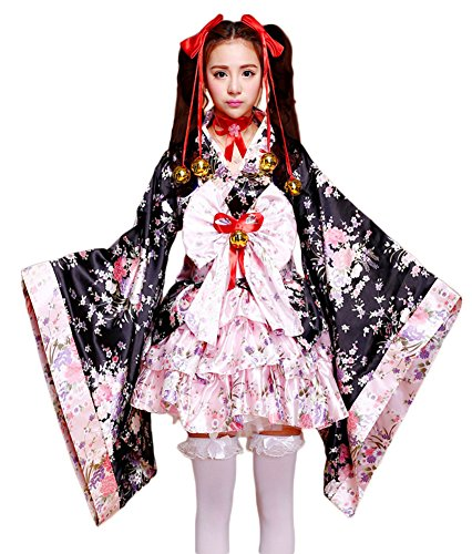 AvaCostume Anime Cosplay Lolita Halloween Fancy Dress Japanese Kimono Costume, M - Fancy Dress Geisha