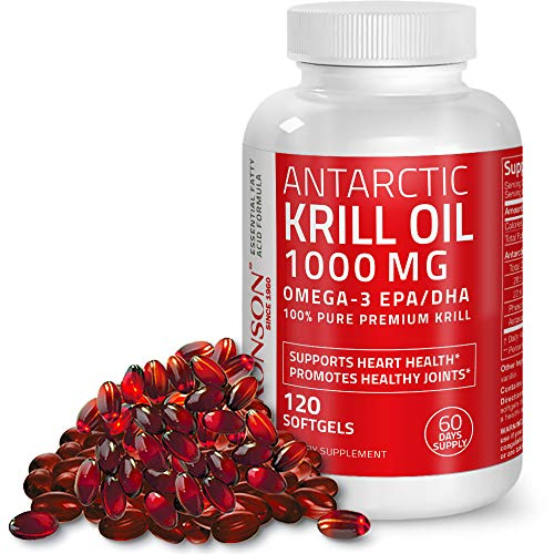 Cheap Bronson Antarctic Krill Oil 1000 mg with Omega-3s EPA, DHA and Astaxanthin, Heavy Metal Tested, 120 Softgels (60 Servings)