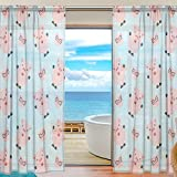 SEULIFE Window Sheer Curtain, Cute Pig Animal Pattern Print Voile Curtain Drapes for Door Kitchen Living Room Bedroom 55x78 inches 2 Panels