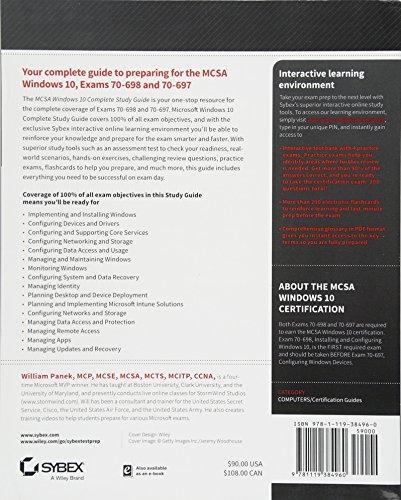 Mcsa Windows 10 Complete Study Guide Exam 70 698 And Exam 70 697