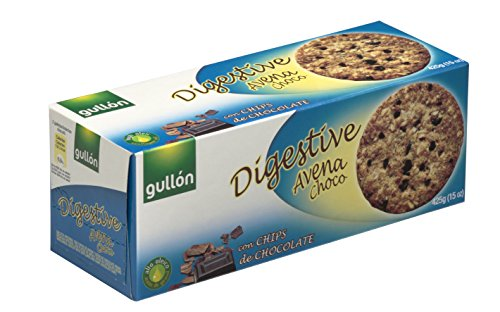 Gullón, Digestive Avena Choc Volkoren koekjes met haver, tarwe en stukjes zwarte chocolade, 425 g, 3-pack