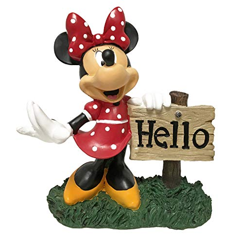 The Galway Company Minnie Mouse Hello Sign, Outdoor Garden Statue, Stands 8 Inches Tall. Hand-Painted, Official Disney Licensed Product