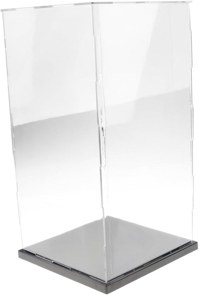 Vitrina de Exhibición Transparente con Base Negro Caja de Exposición para Figuras de Anime Figuritas Estatuas 3D - 21x21x41cm