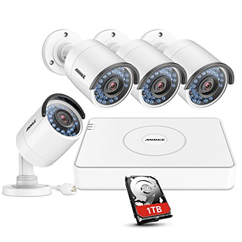 ANNKE HD 1.3-Megapixel 8Ch Smart Network POE Security System 1080P NVR Recorder with 1TB Hard Drive and (4) 1080x960p Outdoor Bullet IP Cameras,100ft Night Vision, Power over Ethernet (White)