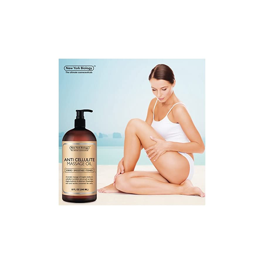 Anti Cellulite Treatment Massage Oil All Natural Ingredients – Penetrates Skin 6X Deeper Than Cellulite Cream Targets Unwanted Fat Tissues & Improves Skin Firmness – 8 OZ