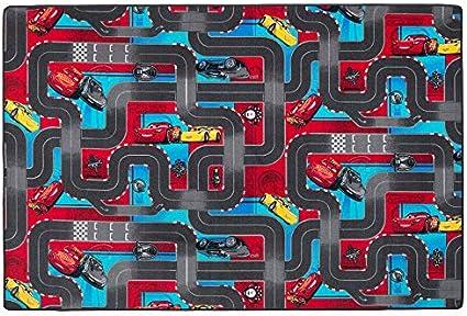Rojo y Turquesa 17 tama/ños Velour Snapstyle Alfombra Carretera Infantil de Juegos Disney Cars