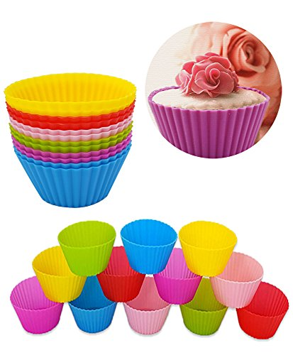 Silicone Baking Cups / Cupcake Liners, Reusable Non-stick Heat Resistant (Up to 480℉) Mini Muffin Molds/Chocolate Holders/Truffle Cups [Food Grade], 12pcs Vibrant Round Cake Molds