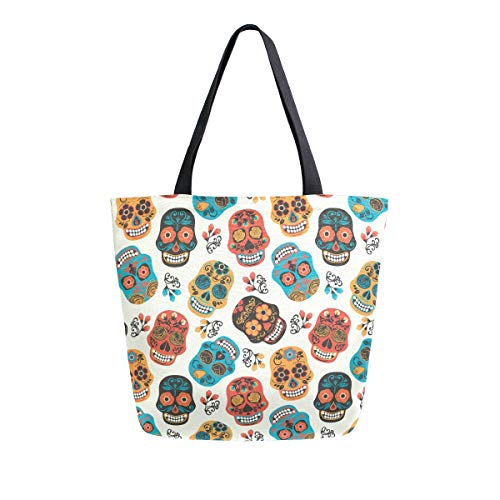SUABO Skulls Canvas Tote Bag Large Women Casual Shoulder Bag Handbag, Reusable Shopping Grocery Bag for Outdoors