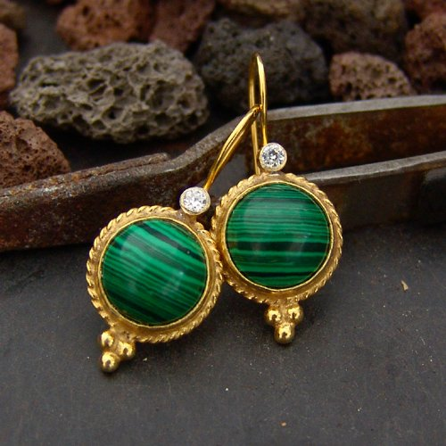 (925 Silver Roman Art Handmade Malachite Designer Earrings W/White Topaz 24k Gold Plated Handcrafted Turkish Designer Jewelry Women Dangle Earrings)