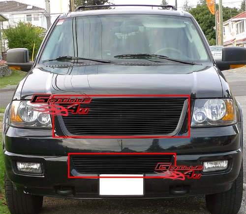 APS Fits 2003-2006 Ford Expedition Black Billet Grille Combo #F87993H