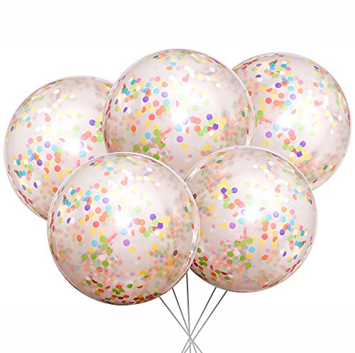 Missional Parties Jumbo Giant Confetti Balloons 36 inch Round Transparent Clear Latex Multicolor Colorful Rainbow Confetti (5 Set) Wedding Birthday Party Baby Shower Graduation Boys Girls