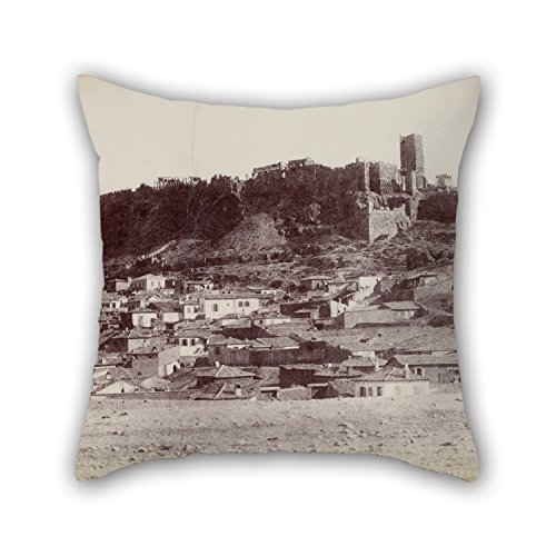 Elegancebeauty Oil Painting Normand Alfred Nicolas - The Northwest Side Of The Acropolis And The Surrounding Area Pillow Shams Best For Drawing Room Wife Christmas Son Wife Car Seat 18 X 18 Inches