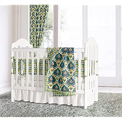 Image of Home and Kitchen HiEnd Accents Salado Crib Set, Blue, 3 l