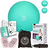 The Birth Ball - Birthing Ball for Pregnancy - Labor Ball + 18pg Pregnancy Ball Exercises Guide by Trimester How to Dilate, How to Reposition Baby & More 2000lb Stress Limit (Mint Green, 65 cm)