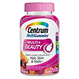Centrum MultiGummies Multi + Beauty (90 Count, Natural Cherry, Berry, Orange Flavors) Multivitamin / Multimineral Supplement Gummy